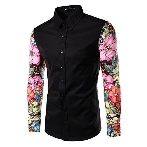 Whatlees Mens Fashion Luxury Casual Slim Fit Stylish Long Sleeve Dress Shirts Floral B030-black-L