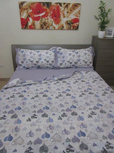 Komplett Bett Größe Französisch reine Baumwolle Perkal.Bettlaken 210x 300cm.Spannbetttuch 140x 200cm.Kissenbezüge 2mit 52x 82cm.
