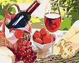 Pintar por Numeros para Adultos Niños Bricolaje Pintura al óleo Kit por Numeros sobre Lienzo Acrílica Pintar y Pinceles,Fruta de vino tinto-smt4823