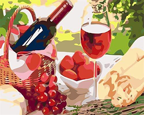 N / E Pintura por Números para Adultos Copas de Vino y Frutas DIY Pintura al óleo Kit con Pinceles y Pinturas para Niños Seniors Junior -Sin Marco -16x20 Inch