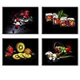 Fruit Wall Art for Kitchen, SZ 4 Piece Set Colorful Fruits and Vegetables Picture Home Decor, Cool Summer Canvas Prints in Dining Room (Waterproof Artwork, Bracket Mounted Ready Hanging)