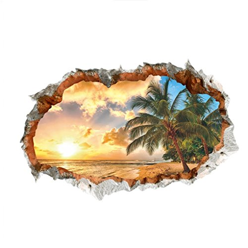WandSticker4U- 3D Wandtattoo Sonnenuntergang beim Meeresstrand I 60x90 cm I Meer Strand Ozean Mauer Palme I Wandbild Poster Deko Tapete Wohnzimmer Schlafzimmer Badezimmer Küche Gross