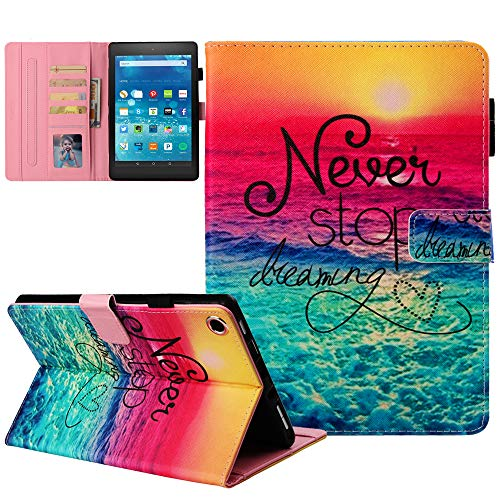 Kindle fire HD 8 Case Old Model (Only fit 2018 2017 2016 Version, 8th/7th/6th Gen), Not Fit HD 8 2020 Tablet & Plus,JZCreater Leather Standing Case Cover with Auto Wake/Sleep, Dream
