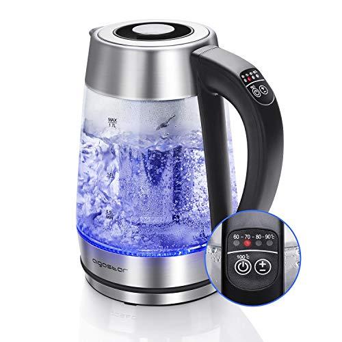Aigostar Cris - 2200W 1.7L Edelstahl Glas Wasserkocher mit LED Beleuchtung, Temperatureinstellung (60°C-100°C), Teekocher mit Teesieb und Kalkfilter, Warmhaltefunktion.