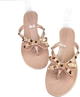 Mtzyoa Women Stud Bow Flip-Flops Sandals Beach Flat Rivets Rain Jelly Shoes