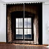 GXLOGA Tende Oscuranti 3D per Camera da Letto Protezione della Privacy Stampa balcone casa retrò Tende Oscuranti Risparmio Energetico Tenda Termoisolante per Giardino Soggiorno Cucina 264x242 cm (LxA)