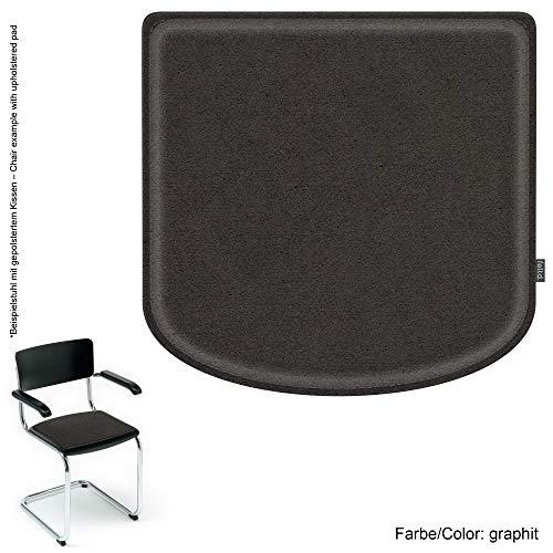 Feltd. Eco Filz Kissen geeignet für Thonet/Breuer Modell S43-29 Farben - optional inkl. Antirutsch und gepolstert! (Graphit)