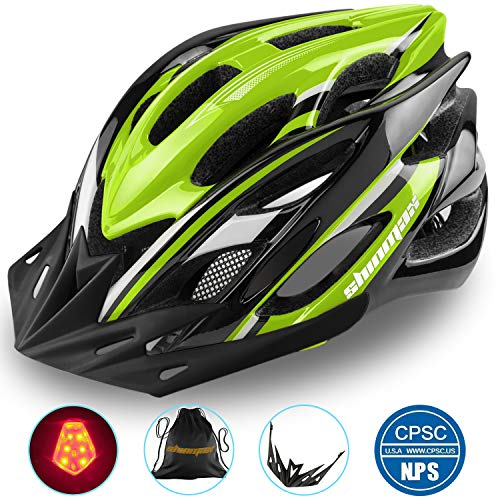 Shinmax Specializzata del Casco Bici con Luce Sicurezza Sport Regolabile Bicicletta Casco della Bici Caschi Bicicletta per Strada Bike Uomini Donne Età Gioventù Racing Protezione Sicurezza
