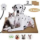 Josechan Pet Heating Pad, Low Voltage 12V Pets Adjustable Heating Mat Between 25 ℃ -55 ℃, Removable Heating Mat, Self-heating Blanket for Dogs and Cats (65 * 40cm)