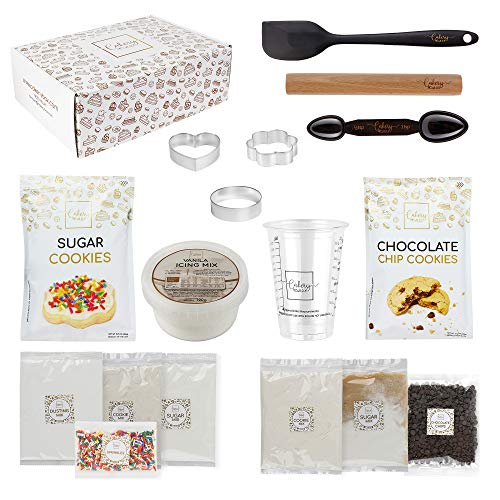 DIY Baking Activity Kit - Baking Set & Supplies for Adults and Teens - Sugar Cookie Mix & Chocolate Chip Cookie Mix, Perfect Baking Gift Idea for Boys and Girls Ages 8-12