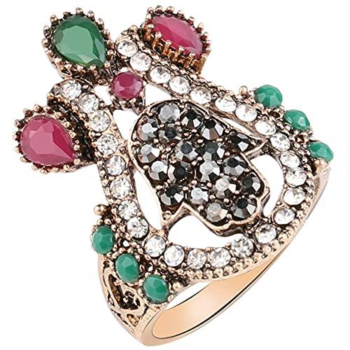 Ezzyso Amor Piedras Preciosas y Anillo de Diamantes, Americana Retro Femenino Estilo Personalidad Anillo de aleación joyería (2 Piezas),10
