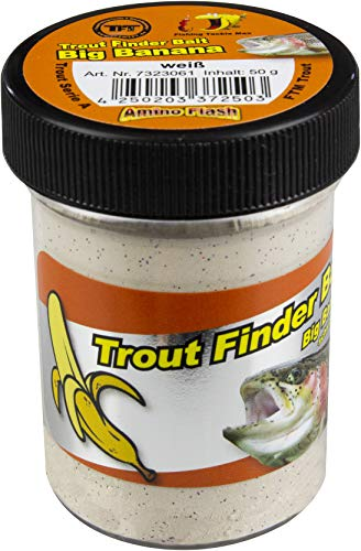 FTM TFT Trout Finder Bait Big Banana Glitter Pasta 50 g Blanco Flotante 7323061 Banana Pasta para pesca de truchas
