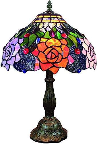 WYXHCJZ Am Tisch Stil Tischlampe Tischlampe 12 Zoll Tiefe traditionelle Blaue Buntglaslampenschirm Wohnzimmer Schlafzimmer rosa antike Zink-Legierung Basis,Red