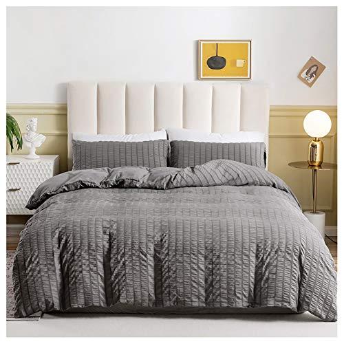 Ancoree Strukturierte Seersucker Bettdecke Sets, Einfarbige Weiche Bettwäsche Sets mit Reißverschluss und Eckkrawatten, 2 Stück, 1 Bettbezug, 1 Kissenbezuge (Grey,Single-135x200)