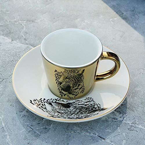 Espressotasse Geschenk Kreative Kaffeetasse Mit Tablett Tasse Beschichtung Spiegel Reflexionsbecher Tasse Keramik Kaffeetasse Und Set Reiserührer Lustige Tassen, Leopard (Gold), 230 Ml