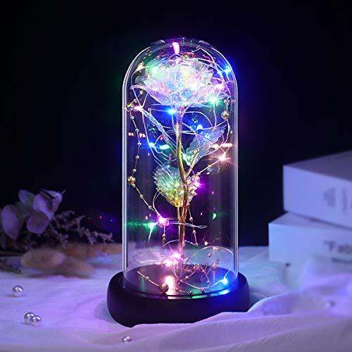 La Belle et la Bête Rose Eternelle, Élégant Dôme en Verre Fleur Artificielle avec Lumières LED pour Mariage Danniversaire de la Saint-Valentin Noël Cadeau Fete des Meres