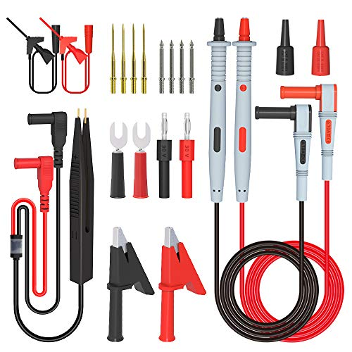 Akozon Test Lead Kits P1300D Electronic Digital Multimeter Test Leads with Crocodile Clips Replaceable Probe Tips Set