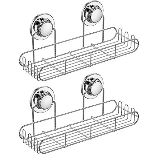 BRIOFOX Shower Caddy 2 Pack Adhesive Shower Organizer 304 Stainless Steel with Hooks Large Capacity Shower Shelf for Hanging Sponge Shampoo Holder Bathroom Kitchen No Drilling Shower Rack