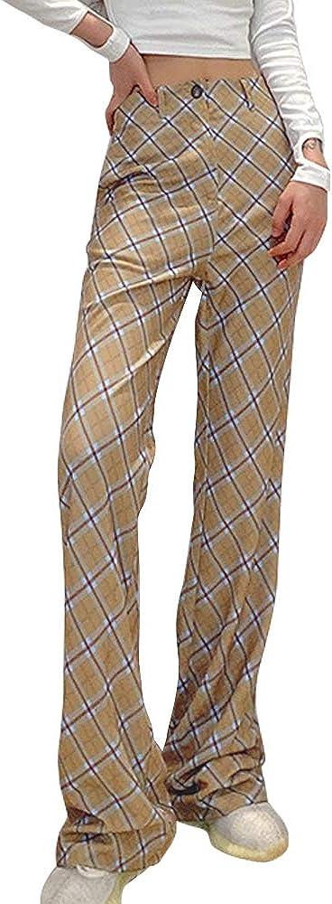 Women's Plaid High Waist Pants Casual Wide Leg Palazzo Lounge Pants Trousers with Pockets
