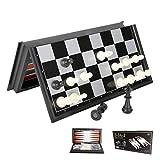 wyewye Juego de tablero de ajedrez – Juego de piezas magnéticas de ajedrez con ajedrez plegable/almacenamiento portátil