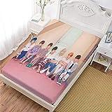 LCGGDB 3D Kpop Fans Customied Fitted Sheet,Kpop BTS Soft Decorative Fabric Bedding, Stain Resistant Deep Pocket Bed Sheet,Full Size Sheet Girls Bedding Decor