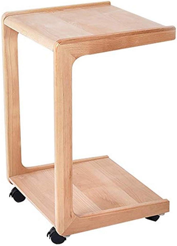 NAN Hongsezhuozi Tables Tea Table Coffee Table Solid Wood Mobile Side Table Small Square Table Corner Table Simple Sofa Bedside Table Leisure Table Folding Tables