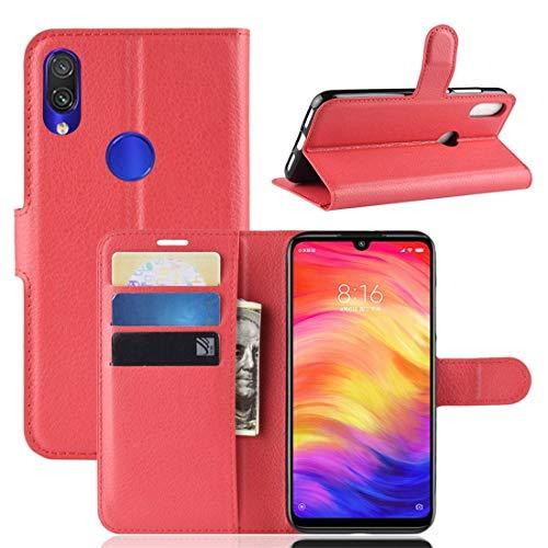 subtel® Handytasche kompatibel mit Xiaomi Redmi Note 7 Global PU Leder Schutzhülle mit Kartenfächern Hülle Flip Hülle Tasche Flip Cover Klapphülle Book Hülle Etui Wallet rot