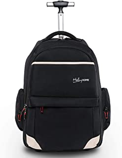 19 inches Wheeled Rolling Backpack for Men and Women Business Laptop Travel Bag, Upgrade Black