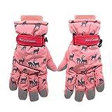 Cute Animal Deer Winter Snow Ski Gloves for Women Girls Men, Waterproof Snowboard Warm Glove Mittens