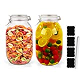2 Pack 100 oz Glass Airtight Jars with Leak Proof Rubber Gasket and Lids,3 L/ 3000 ml Wide Mouth Fido Jars Canning Jars Glass Storage Jars for Home & Kitchen.