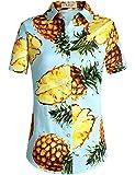 SSLR Damen Hawaiihemd Hawaii Bluse Kurzarm Baumwolle Ananas 3D Gedruckt Freizeit Lose Aloha Shirts (Small, Blau)