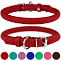 BRONZEDOG Rolled Leather Dog Collar Round Rope Pet Collars for Small Medium Large Dogs Puppy Cat Red Pink Blue Teal Brown Rose Green (Neck Size 12'' - 14'', Red)