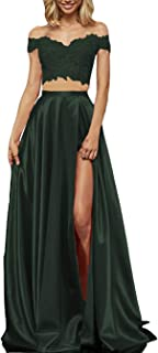 emerald green two piece prom dress