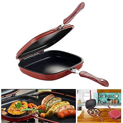 Oiuytghjkl 28 cm dubbelzijdig barbecue koekenpan fornuis roestvrij staal dubbelzijdige pot