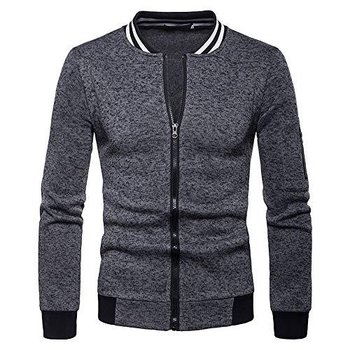 TIMEMEAN Bomber Jacket Men Autumn Winter Coat Long Sleeve Outwear Dark Gray Large