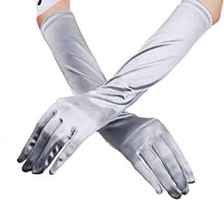 LingGT 38cm Silver Gloves Women Longsleeve Wedding Party Mittens (Color : Silver, Size : One Size)