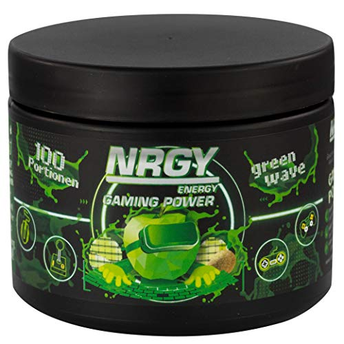 NRGY Gaming Power Pulver - 400g 100 Portionen - Green Wave Apple Kiwi Limette - eSports Energy Drink Pulver Booster für Gamer - Booster für Euer Game für mehr Konzentration