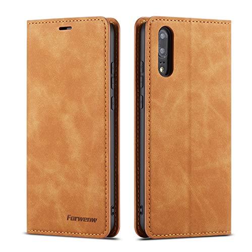 QLTYPRI Hülle für Huawei P20, Premium Dünne Ledertasche Handyhülle mit Kartenfach Ständer Flip Schutzhülle Kompatibel mit Huawei P20 - Braun