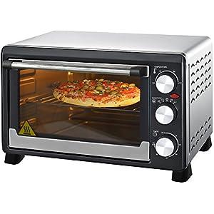 Syntrox Germany Mini four à pizza en acier inoxydable 23 l avec chaleur tournante et tournebroche