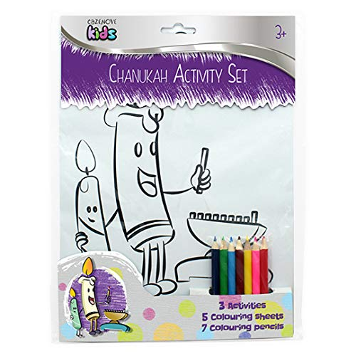 Cazenove Hanukkah Coloring Set for Children. 5 Coloring Sheets with Coloring Pencils. Great Chanukah Gift for Kids.