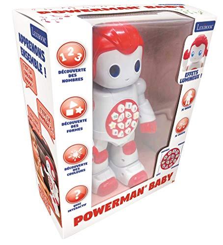 Lexibook Robot pour Apprendre Les Chiffres, Les Formes et Les Couleurs-Jouet pour garçons et Filles-Powerman First Danse Joue de la Musique Quiz Rouge/Blanc, ROB15FR