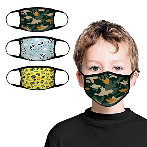 Kids Face Bandana 3-Pack with Colorful Cartoon Design Face Mask Bandanas Reusable Cloth Covering Set for Teens Boys Ages 5-13 (game design)