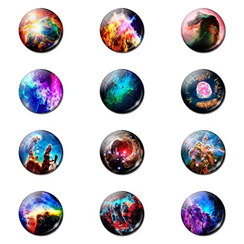 12 Piezas romántico Misterioso Planeta Nebulosa imán de Nevera 25 Mm Soporte de Nota de Vidrio decoración Nevera Pegatina magnética decoración del hogar