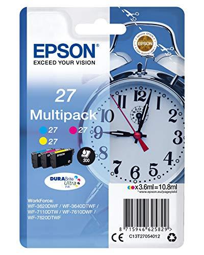 Epson 27 DURABrite Ultra Ink- Cartuccia d'Inchiostro, Multicolore (Ciano/Magenta/Giallo)