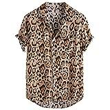 XuanhaFU Camiseta Hombre de Verano,Camisa De Manga Corta con Bolsillo De Leopardo (marrón,L)