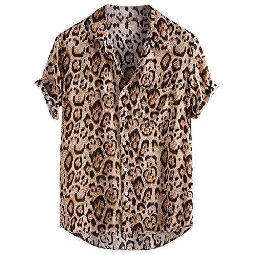 XuanhaFU Camiseta Hombre de Verano,Camisa De Manga Corta con Bolsillo De Leopardo