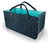 LoFelt® Bolsa de Fieltro de Material Resistente – XXL 25 x 25 x 50 cm – Cesta de la Compra Cesta de Fieltro para leña, Bolsa de Fieltro para Chimenea, Cesta para periódicos (Antracita/Turquesa)