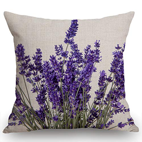Swono Lavender Flowers Burlap Throw Pillow Case Cushion Cover Couch Sofa Decorative Square 18x18 inches