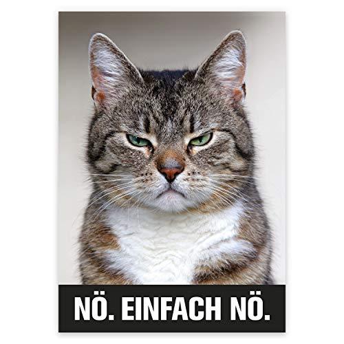 younikat Katzenposter Nö. Einfach nö. I Print Plakat in DIN A4 mit Katze und coolem Spruch I Statement lustig witzig modern I dv_625