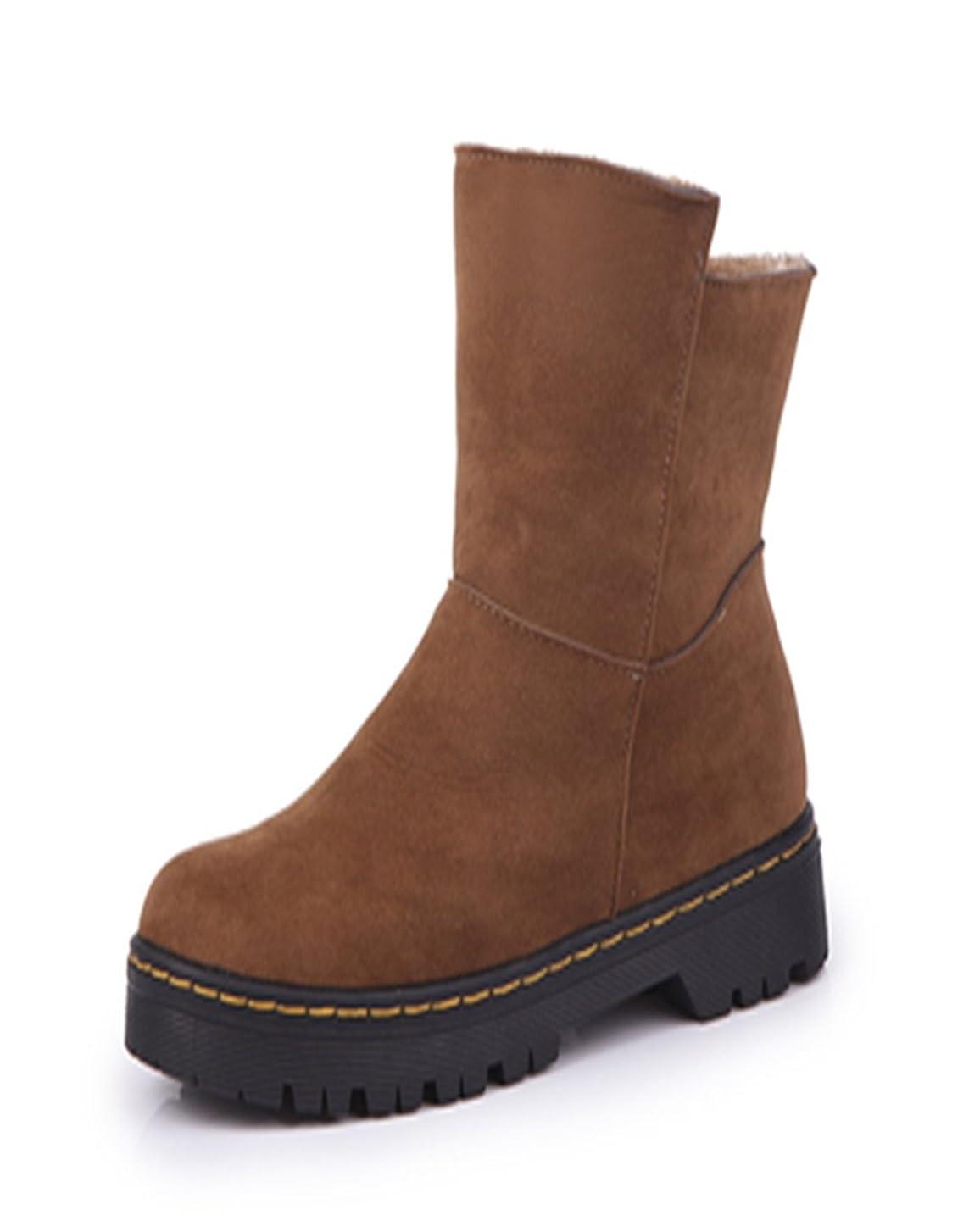 化学肥料ペレット[HONGJING] ショートブーツ シンプル 歩きやすい 厚底 レディース スエード 黒 暖かい 秋冬 ミドルヒール 安定感 歩きやすい 痛くない 美脚 脚長 3色 黒 ブラック グリーン ブラウンー